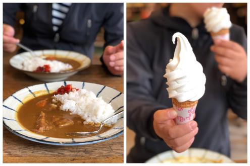 徳沢園のカレーとソフトクリーム